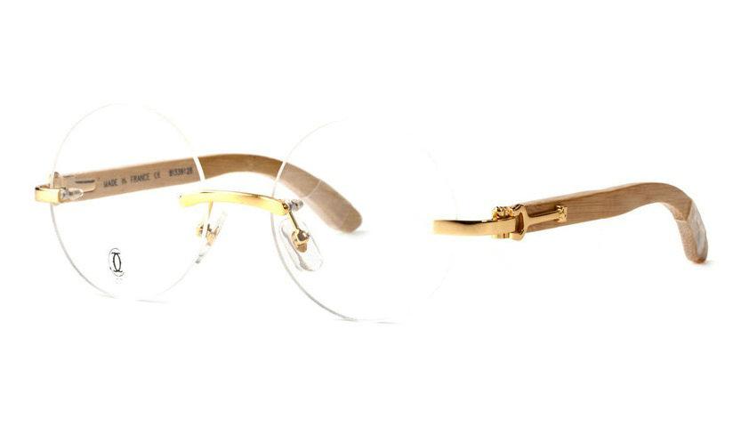 Wholesale Cheap Replica Cartier Round Bamboo Eyeglass Frames for Sale-044