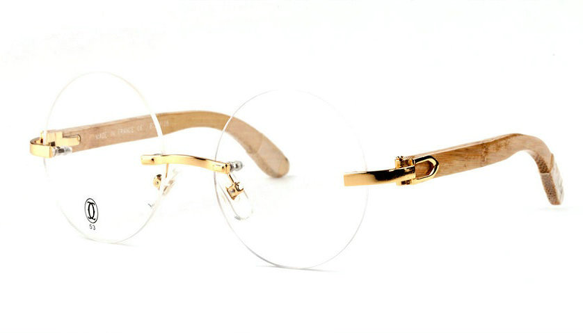 Wholesale Cheap Replica Cartier Round Bamboo Eyeglass Frames for Sale-049